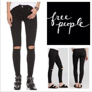 Free People Slit Knee skinny jeans
